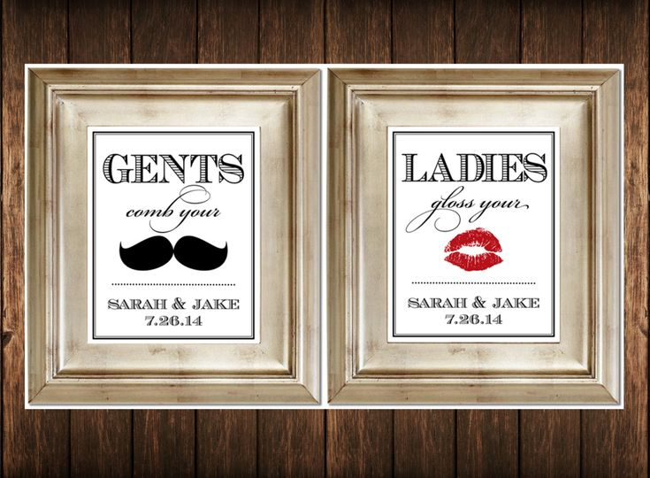 Set of 2 bathroom signs customized ladies by for Wedding bathroom kit
