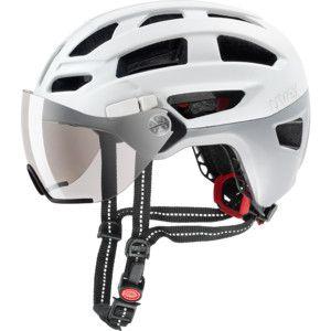 cycling helmet, uvex finale visor, white-silver mat