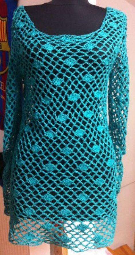 Bluza crosetata - salmada | CraftyIdeas For, Design Vestimentar, Crochet Dreams, Crochet Dresses, Of Agujas, Bluzas Crosetata, Happy Hooker, Crochet Tops, Crochet Clothing