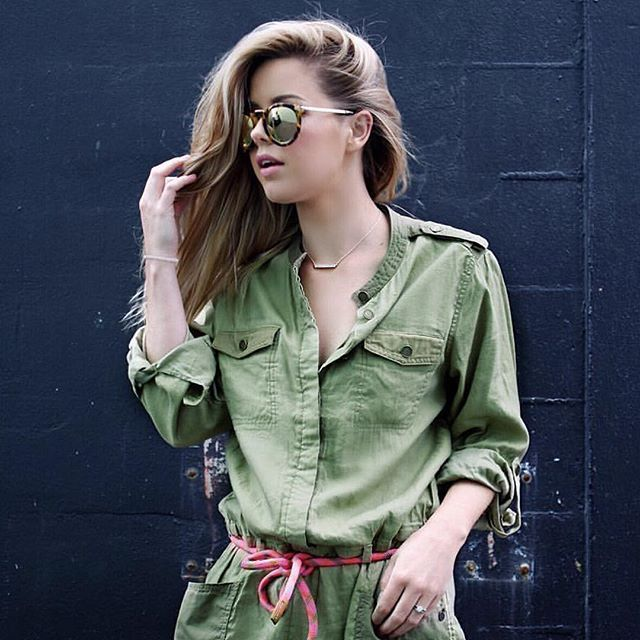 The Maison Scotch jumpsuit worn by @makeupbyannalee and @karen_walker sunglasses love this look 😎 #etvoustyle
