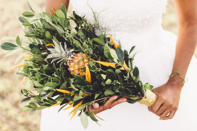 Bouquet with pineapple | Kama Catch Me Fiji Destination Wedding Photography | see more on: http://burnettsboards.com/2014/08/freedom-expression-fijian-bridal-editorial/