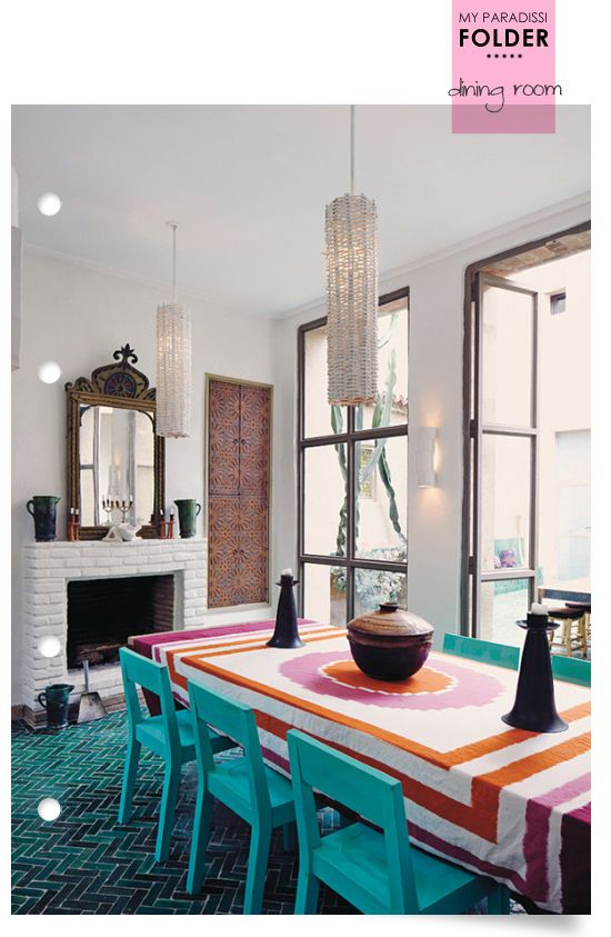 A Modern Ethnic Dining Room With Amazing Teal Fishbone Tiles Floor