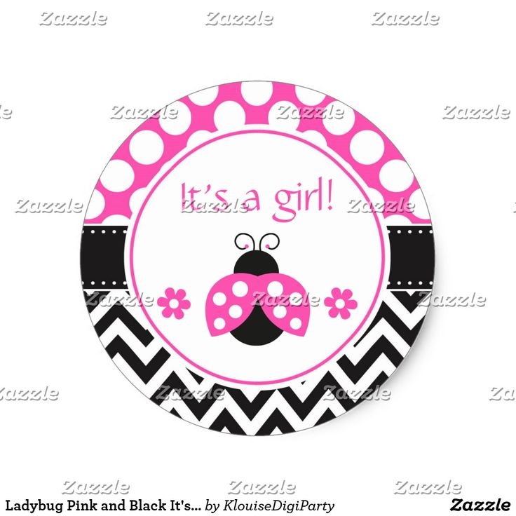 Ladybug Pink and Black It's A Girl Classic Round Sticker