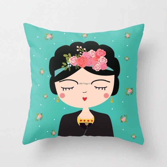 Frida Kahlo Pillow,  Nursery Modern Pillow, Boho Girls Pillow, Mexican Folk Art, Cushion Cover, Folk Decorative Throw Pillow, Feminist art by hangAprint on Etsy https://www.etsy.com/ca/listing/277967236/frida-kahlo-pillow-nursery-modern-pillow