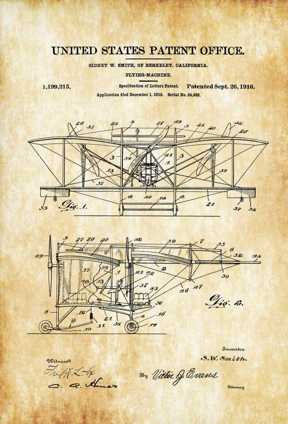 1916 Smith Flying Machine Patent - Airplane Blueprint Vintage Aviation Art Airplane Art Pilot Gift  Aircraft Decor Airplane Patent by PatentsAsPrints