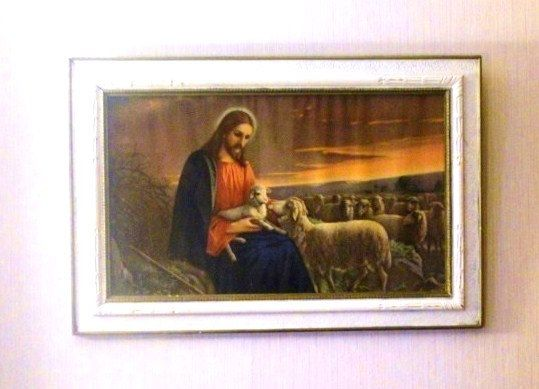 The Parable of the Lost Sheep, Framed Vintage Lithograph Luke 15:1-7. Jesus. Religious Framed Print.