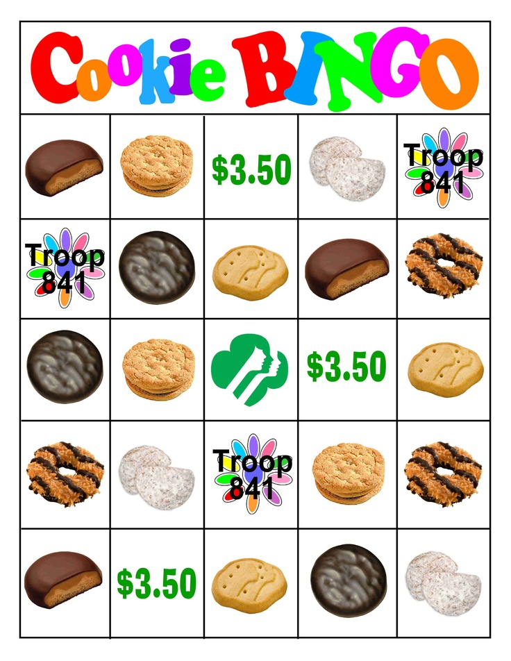 Bingo Card for teaching Daisies to identify the types of cookies and how much a box costs.