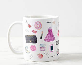 Maquillage Mug, tasse de cils, mode tasse, cadeau de demoiselle d'honneur, tasse cadeau, Mug fille, maquillage pinceau tasse, cadeau pour elle, café Mug cadeau, Mug accessoires