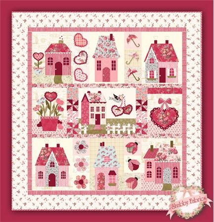 """Sweetheart Houses Pattern: Sweetheart Houses is a fun quilt designed by Jennifer Bosworth of Shabby Fabrics. This 65"""" x 68"""" quilt features pieced appliqued houses, hearts, and more! Pattern includes all instructions plus full-color photos of each block. A BOM program for this quilt is also available.Unsure of your applique skills? Add our Applique Guide below for ste..."""