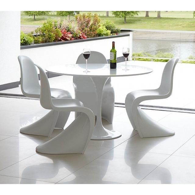Table ronde de repas design TULIPE laquée blanc 90 cm