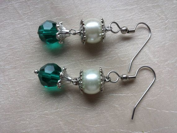 Check out this item in my Etsy shop https://www.etsy.com/listing/233285146/may-green-emerald-earrings-vintage-pearl