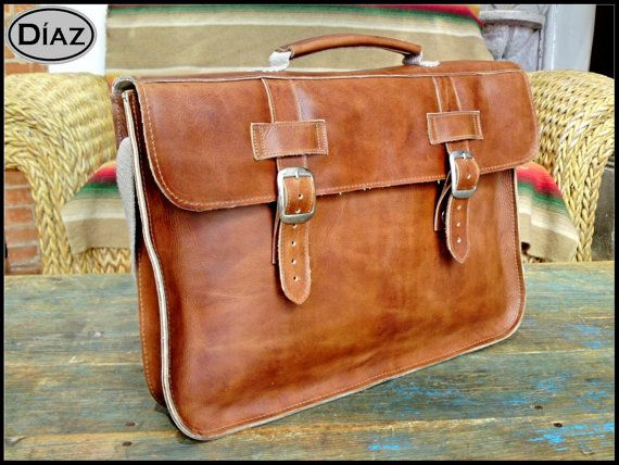 DIAZ Small Leather Portfolio / Laptop Bag Satchel in Crazy Horse Tanned Brown - (13in MacBook Air / Pro) - Free Monograming  -