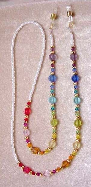 SWAROVSKI Crystal Elements Rainbow Discs EYEGLASS CHAIN Silver Holder