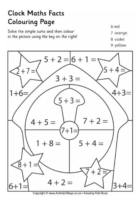 Clock maths facts colouring page