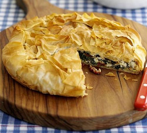 Crispy Greek-style pie   A crispy pie that you can adapt for your needs, add chicken or keep it veggie. A good fail-safe for your repertoire