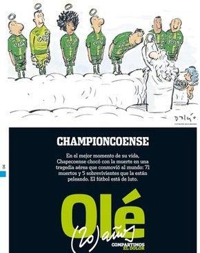 Capa do jornal Olé, da Argentina, homenageia a Chapecoense (Foto: Reprodução)