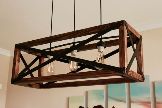 Rustic Wood and Metal Chandelier FREE SHIPPING by CnLFurnishings