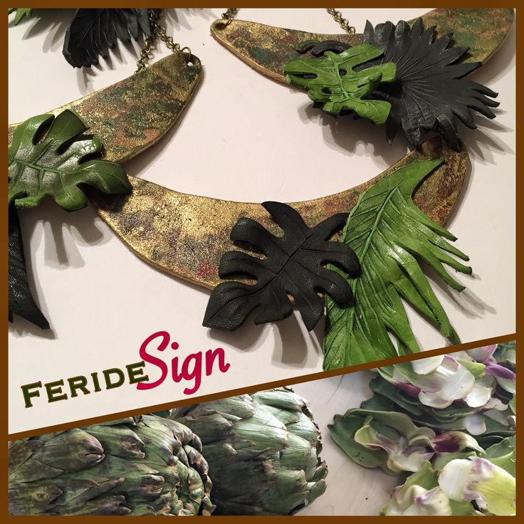 tropical leaves... leather design and handmade