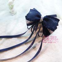 Princesa lolita doce Azul Sul Coreano cinto de cetim sheer bandeaus artesanal ultralarge arco acessório de cabelo hairpin