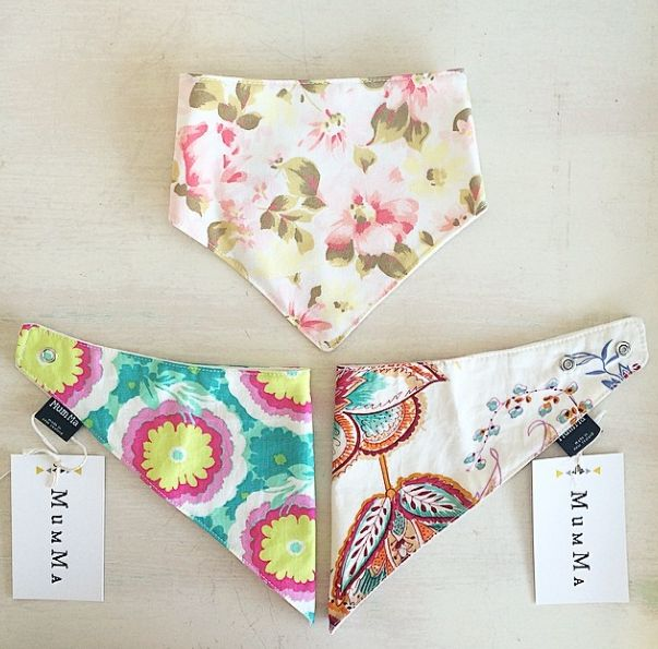 Bandana Bibs made by MumMa in NZ.  Perfect for babies dribbles and spills.  Gorgeous prints.