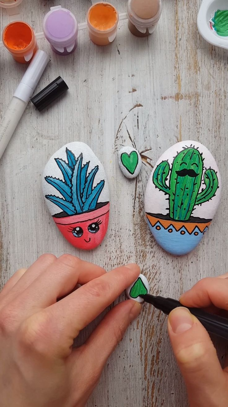 Rock painting tutorial with succulents #painting #succulents #tutorial