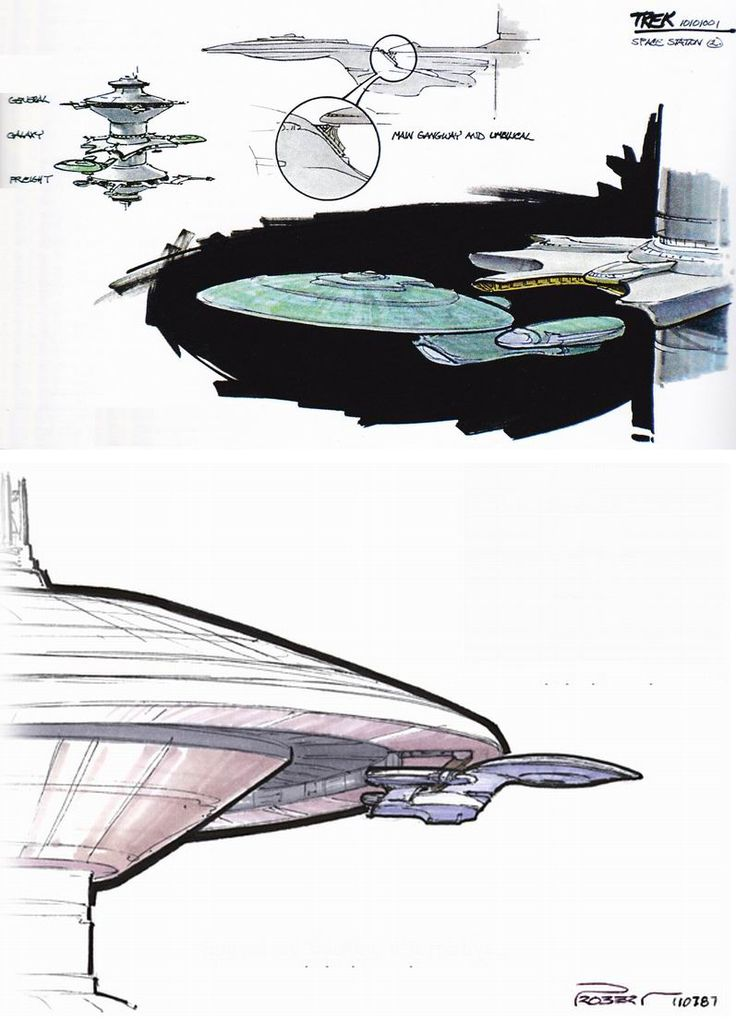"Andrew Probert's concepts for the USS Enterprise-D docking with a Spacedock-type station. This would have allowed for the more reasonable premise that Starbase 74 from ""11001001"" is the same design and size as Earth Spacedock. Sadly, producers..."