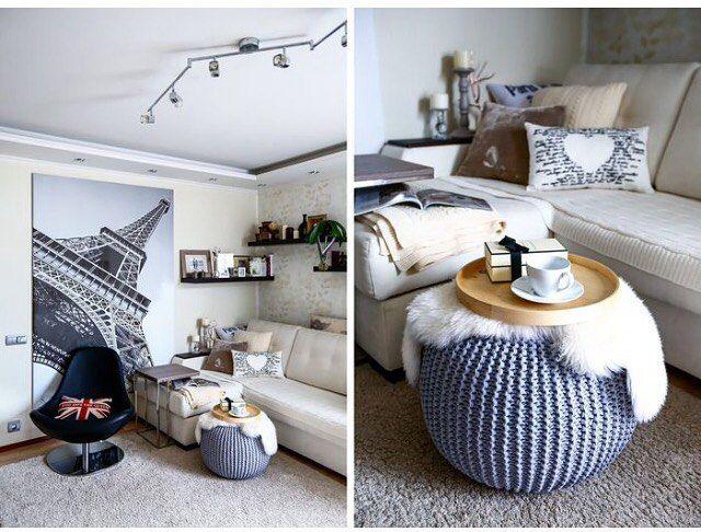 Scandinavian style Knitted pouf interior. Knitted decor Вязаный пуф, скандинавский стиль, гостиная в скандинавском стиле.