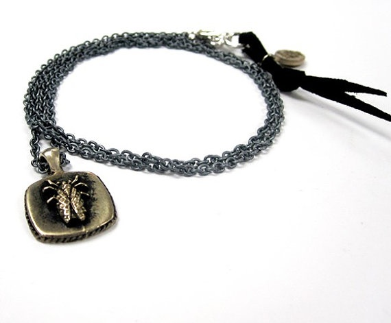 Brass Cicada sailor pendant on oxidized silver chain by lorgjewels, $90.00