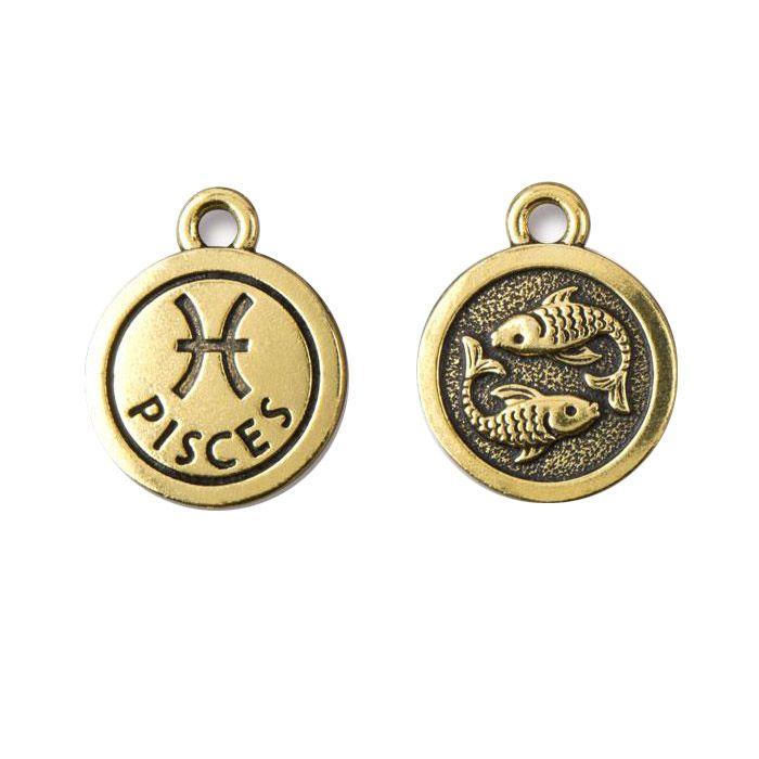 Pisces Charm Antique Gold