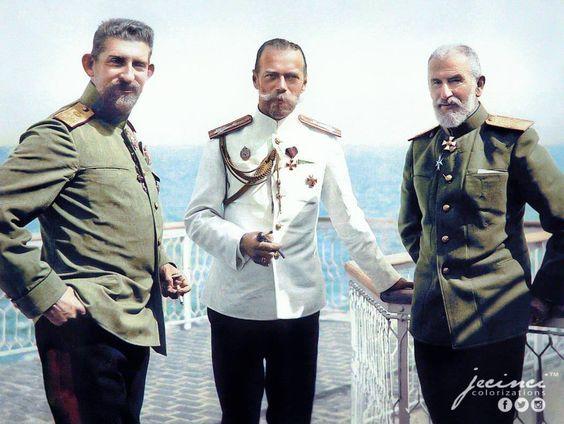 Vizita Țarului la Constanţa, 1914. Principele moștenitor Ferdinand, Țarul Nicolae al II-lea și Regele Carol I.