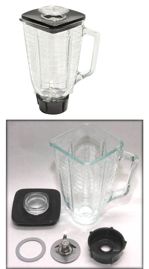 5-Cup Square Top Glass Jar and Base Cap Set Fits Oster Blender