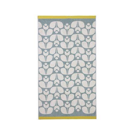 Orla Kiely - Wallflower Jacquard Towel - Duck Egg Cream Mimosa - Bath Towel - 125x70cm