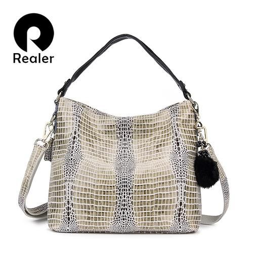 REALER Brand Women Handbag Genuine Leather Tote Bag Female Serpentine Pattern Leather Handbags Ladies Shoulder Messenger Bags