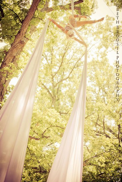 aerial silk artist [bethbrousilphotography]. Imagine doing the silks from a tree outside! How amazing would that be?!?!?