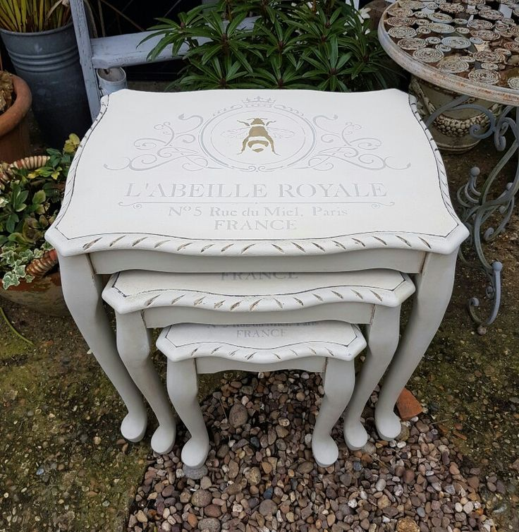 Shabby chic painted nest of tables in Annie Sloan paints with French Stenciling, by Imperfectly Perfect xx