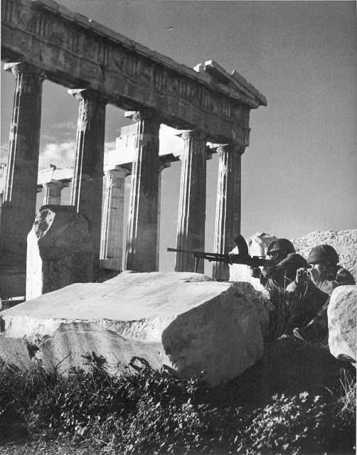 Dmitri Kessel, Brittish paras dug in by the side of the Parthenon. December 1944 the -arguably- Churchill orchestrated civil war has begun...