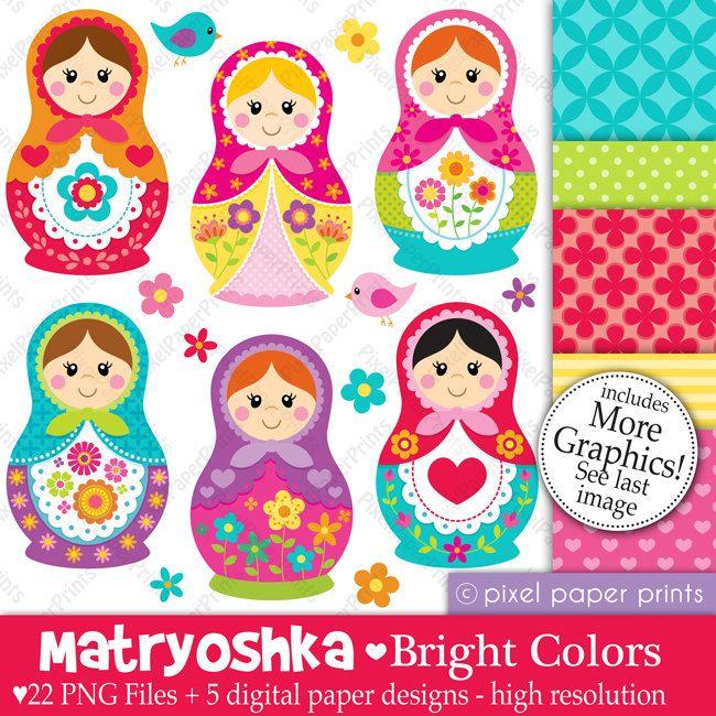 Matryoshka - BRIGHT COLORS - Russian Doll digital paper and clip art set. $6.00, via Etsy.