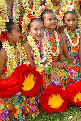 The children or 'keiki' from Halau Hula O Hokulani at the Lei Day Festivities…