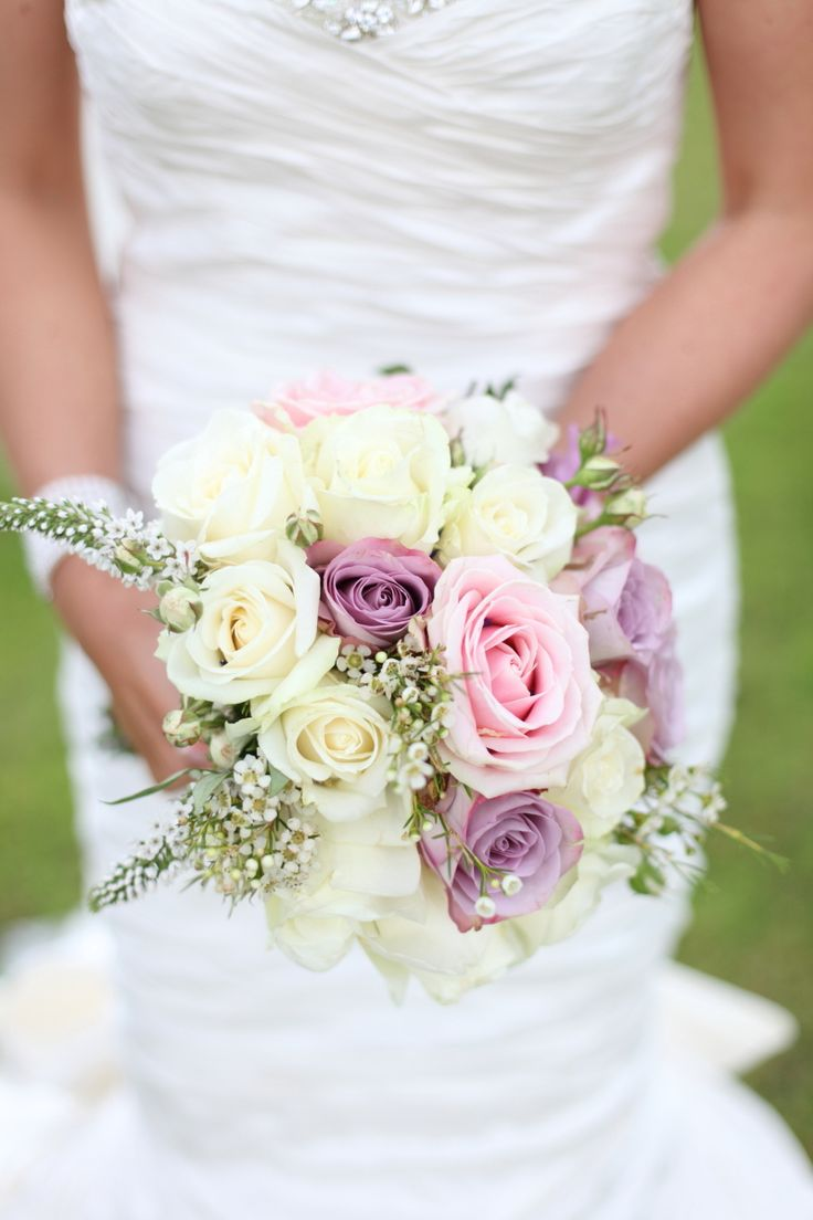 Image by Dasha Caffrey. Wedding bouquet. pink roses. Lilac roses. ivory roses