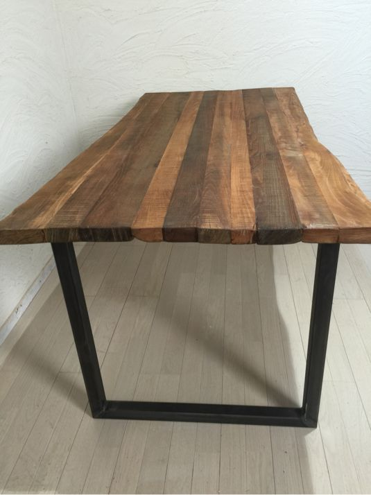 オーク古材風ヴィンテージ風ダイニングテーブル鉄脚黒皮ナチュラル