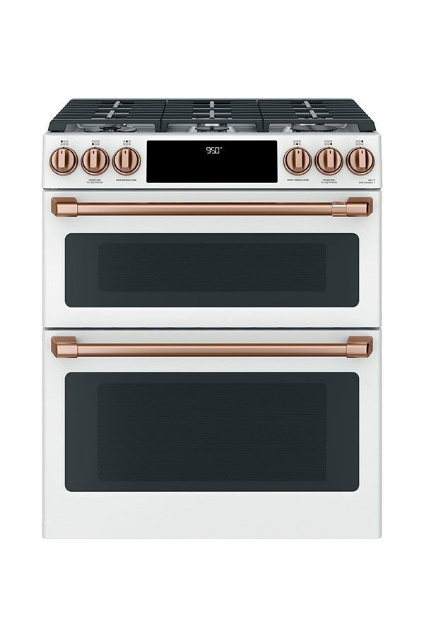 Best Kitchen Range Café 30 Slide In Front Control Dual Fuel Double Oven With Convection Matte White Copper Hardware Sponsored