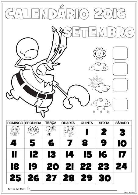 Calendário Setembro 2016 com Numeração Seu Sirigueijo