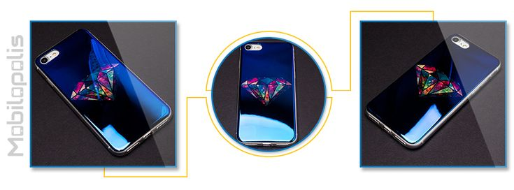 Extra lesklý silikonový kryt na iPhone 7 - iRaptor Series Blue Chrome SBC10107