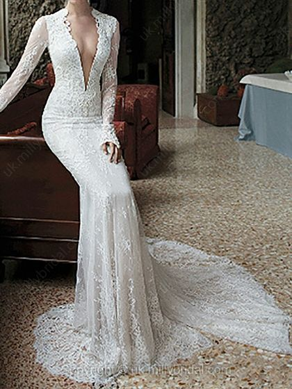 Trumpet/Mermaid V-neck Lace Court Train Draped Wedding Dresses -USD$425.53