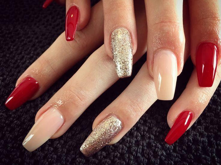 Ballerina Glitzer rote Nägel – Nageldesign Glitzer – #Ballerina #Glitter #Mädchen …