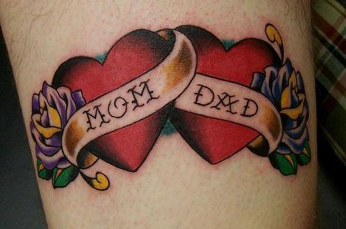 """traditional """"mom & dad"""" tattoos i'm going to get this as soon as I give birth lol :)"""