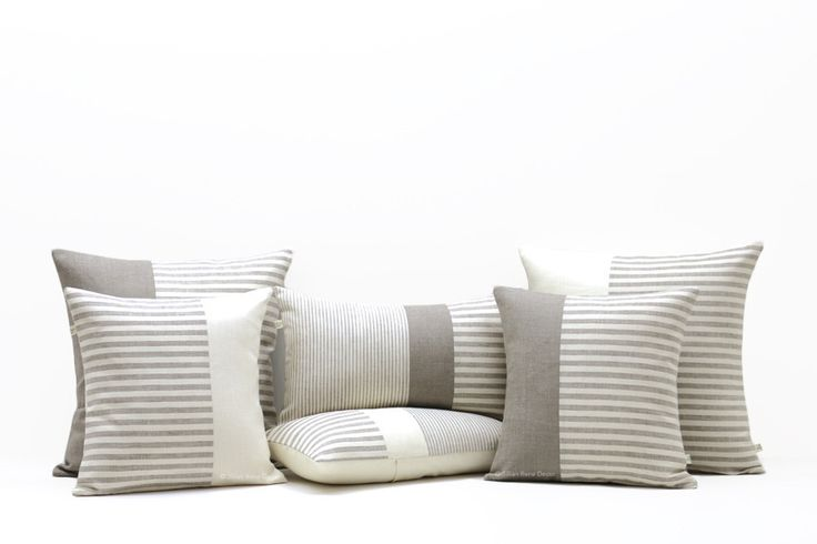 Minimal Striped Linen Pillow Cover Set of 6 by #JillianReneDecor
