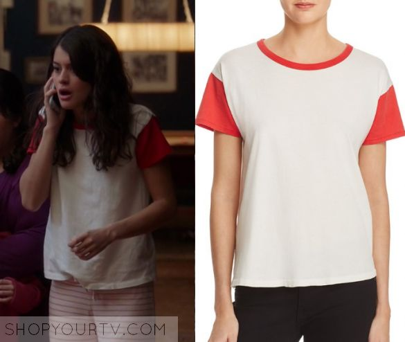 """The Mick: Season 1 Episode 17 Sabrina's Contrast Sleeve Tee   Shop Your TV Sabrina Pemberton (Sofia Black D'Elia) wears this white tee with red contrast trim and red sleeves in this episode of The Mick, """"The Intruder"""".  It is the Rag & Bone/Jean Cotton Ringer Tee."""