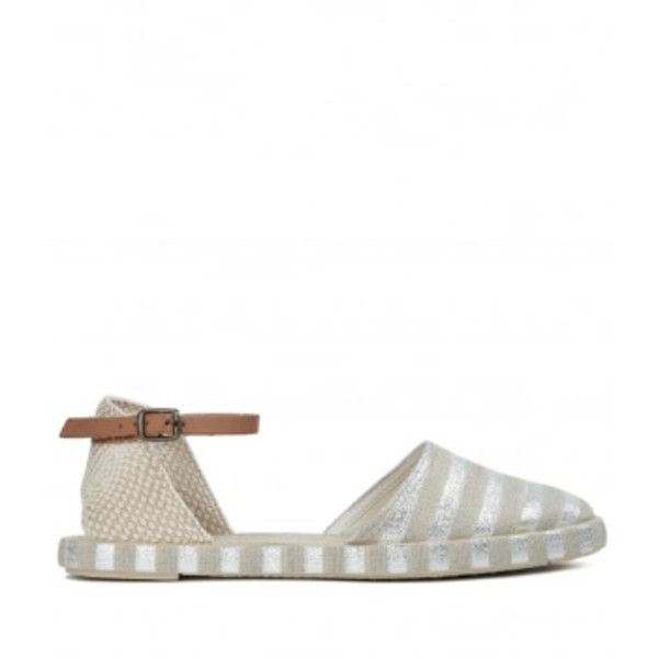 Biarritz Silver Espadrille Shoes ($65) ❤ liked on Polyvore featuring shoes, sandals, espadrille shoes, espadrille sandals, hudson shoes, leather ankle strap sandals and silver sandals