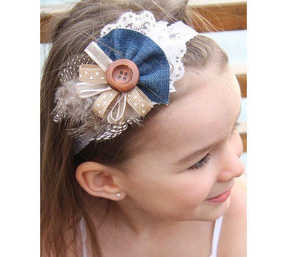 Ivory Baby Headband Button Headband Lace Headband by OlelyDesign